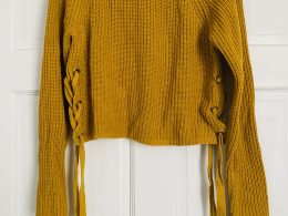 Mustard yellow crop sweater with lace-up sides