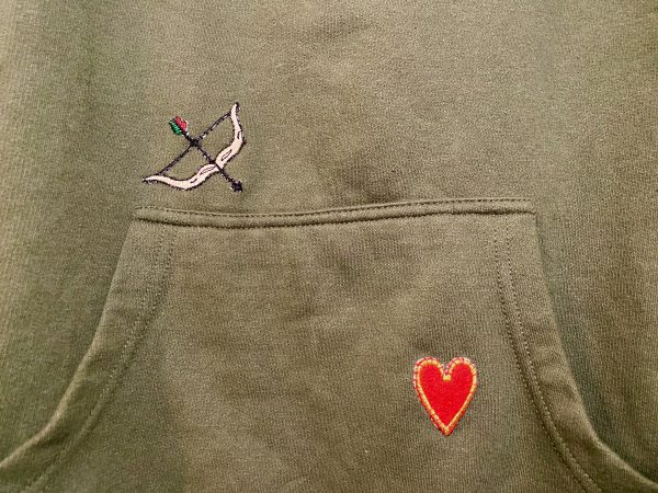 vintage bow and arrow and heart appliqués