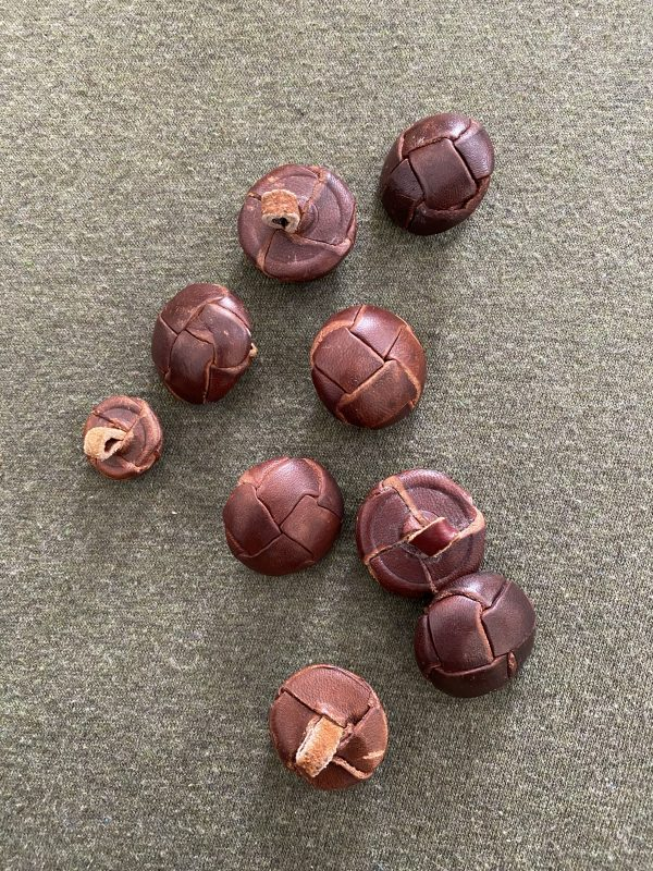 vintage woven leather buttons